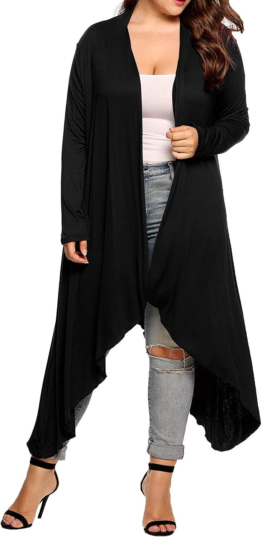 Guixiu Women's Plus Size Cardigan Open Front Drape Sweaters Long Sleeve Shrugs