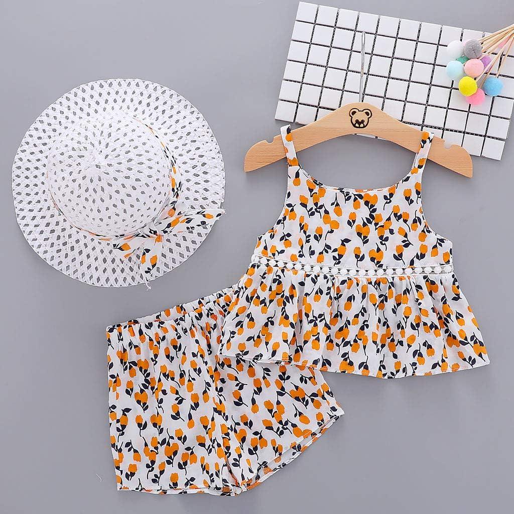 WOCACHI 3Pcs Newborn Baby Girls Outfits Bow T-Shirt Shorts Hat Dress Sets