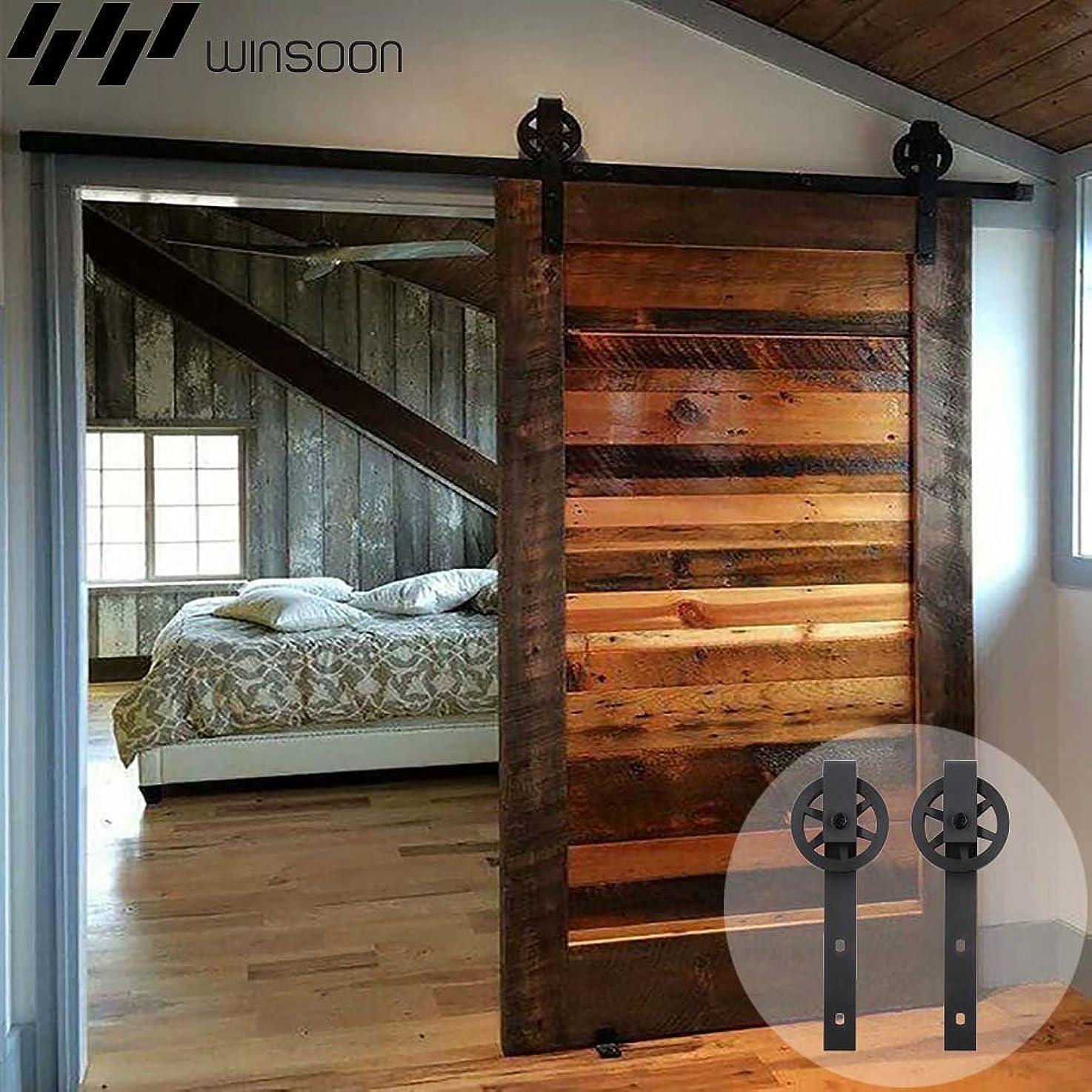 WINSOON Sliding Barn Door Hardware 9ft Track Single Door Kit Low Ceiling for Window Cabinet TV Stand, I Shape Hooks