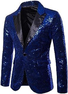 FSSE Men's Dance Prom Casual Slim Sequins Club Dress Blazer Jacket Suit Coat