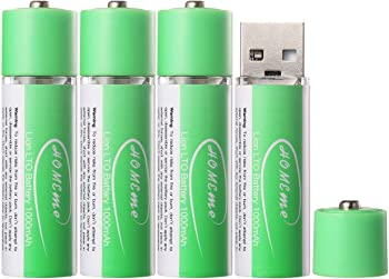 4-Pack Homeme USB Rechargeable AA 1.5V Lithium-ion Batteries