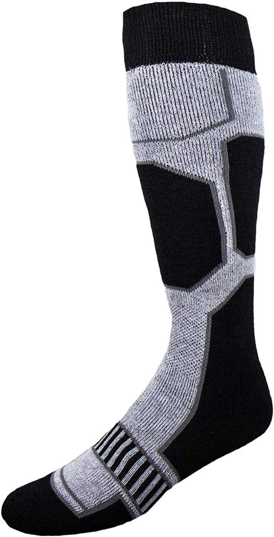 Snowboard Socks  Comfortable Warm Outdoor Socks for Skiing and Snowboarding  Warm Board Socks, Ski Socks for Men and Women (BlackWhiteSilver, Small)