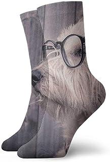 Calcetines deportivos para hombre, para mujer, bufanda, gafas para perros, calcetines divertidos y divertidos de poliéster, 30 cm