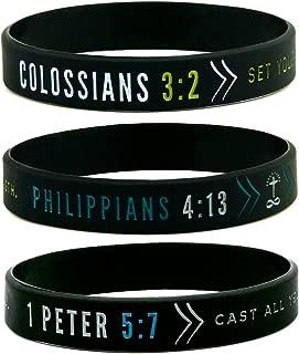 (6-pack) Faith Wristbands w/Bible Verses - Philippians 4:13, Colossians 3:2, 1 Peter 5:7 - Adult Unisex Size for Teens Men Women