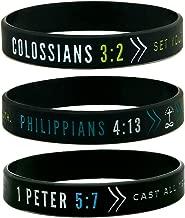 Inkstone (6-pack) Faith Wristbands w/Bible Verses - Philippians 4:13, Colossians 3:2, 1 Peter 5:7 - Adult Unisex Size for Teens Men Women