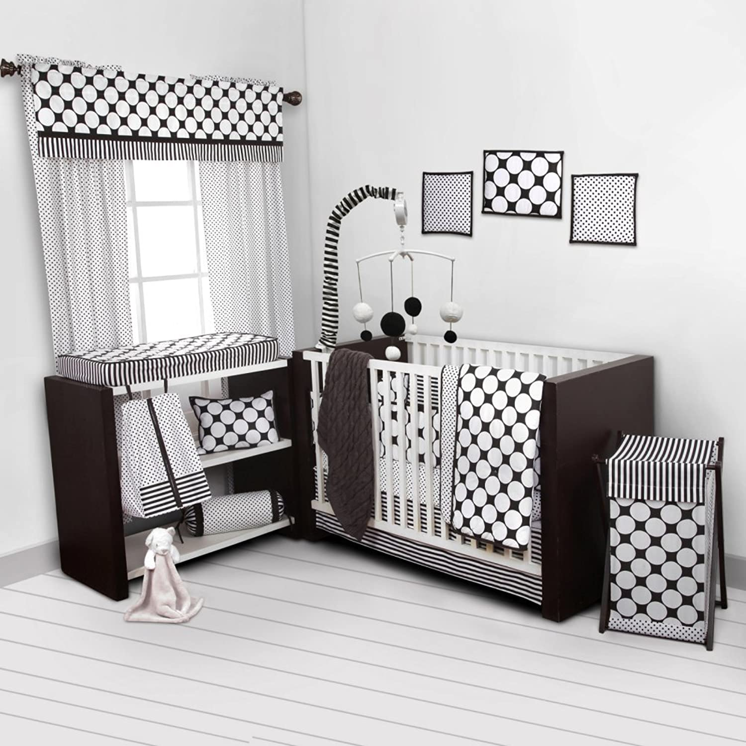 Bacati Dots Pinstripes Black White 10 Piece Crib Set Including Bumper Pad