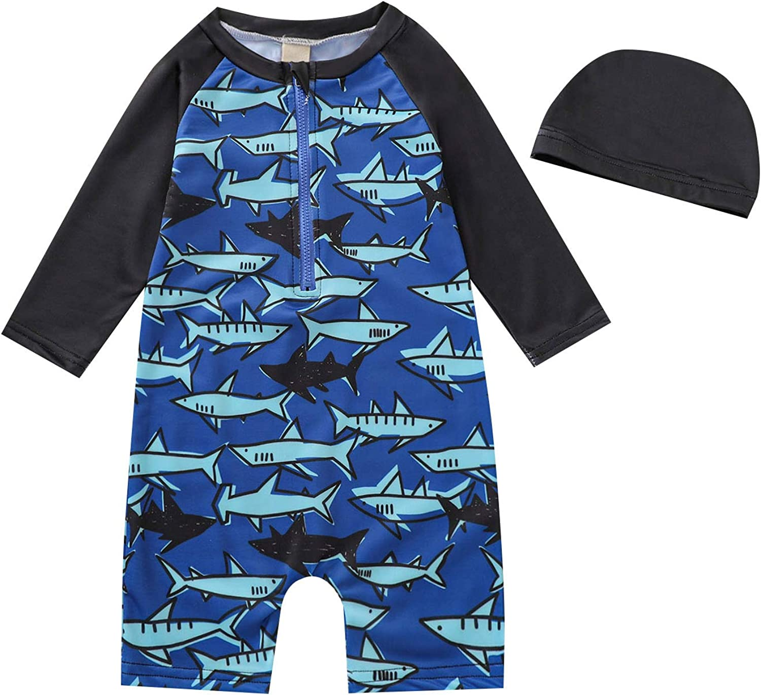 Toddler Baby Boy Bathing Suit Little Boys Long Sleeve One Piece Swimsuit Set Breathable Swimwear with Bathing Cap