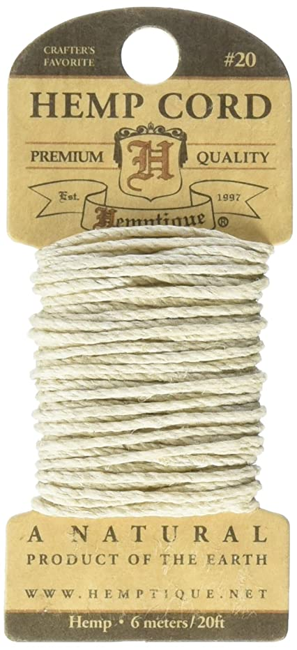 Hemptique HMC20NAT Hemp 20-Pound Cord, Natural, 20-Feet