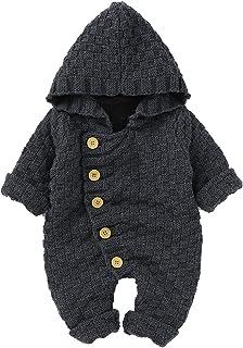 Queen.Y Baby Strampler Neugeborene Baby Winter Warme Outfits Kapuze Strick Overall Kleinkind Langarm Strampler für 3-24M Babys