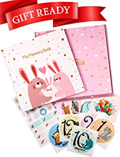 Baby Memory Book for Girls - Baby Books First Year Memory Book - Baby Keepsake Book - Baby Albums for Girls - Baby Milestone Book - Baby Journal - Baby Girl Memory Book - Baby Scrapbook - Pink