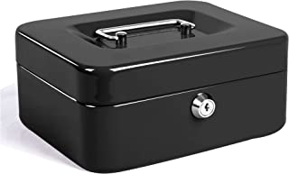 Jssmst Locking Medium Steel Cash Box with Money Tray,Lock Box,Black