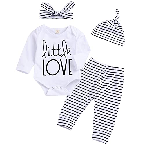 37b094bea8d2 YOUNGER TREE Newborn Baby Girl Boy Cotton Outfits Long Sleeve Romper  Striped Pants Hat Headband Spring