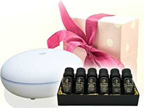 Aromatherapy Diffuser with Essential Oil Gift Set – Bundle with Smiley Daisy Best Ultrasonic Diffuser and 100% Pure Essential Oils – For Moms Dads and Kids (Hibiscus White w/JuJu Aroma Gift Set)