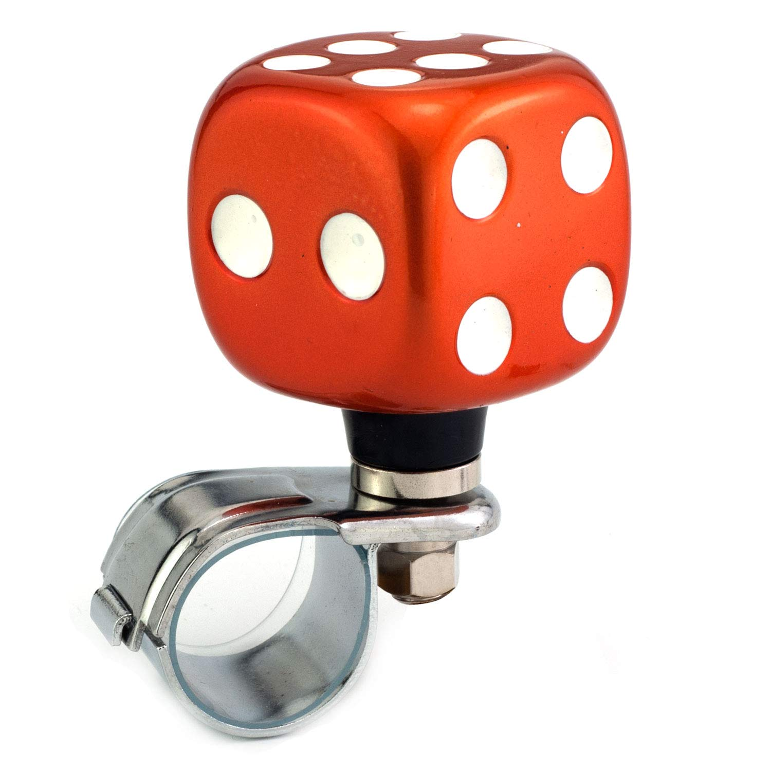 Thruifo Steering Wheel Knob Suicide Spinner Orange Dice Shape Car Power Handle Grip Knobs Fit Most Manual Automatic Vehicles