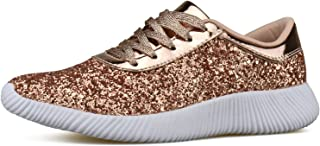 3be2b90cfef4 Womens Wedge Platform Fashion Sneaker Glitter Metallic Lace up Sparkle Slip  On Street Casual Running Shoes