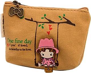 Minetom Frauen Dame Girl Geldbeutel Wallet Tragbar Segeltuch Mini Schaukel Mädchen Kleingeldbörse Schlüsseletui Handtasche
