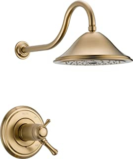 Delta Faucet Cassidy 17T Series Dual-Function Shower Trim Kit with Single-Spray Touch-Clean Shower Head, Champagne Bronze T17T297-CZ (Valve Not Included)