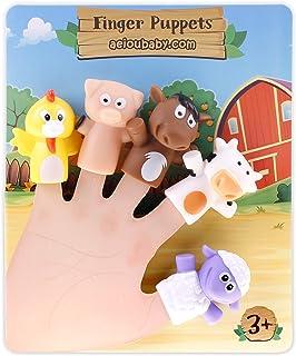 aeioubaby.com Marionetas de Dedo para niños y bebés | 5 Animales de Granja | Títeres de PVC Sin BPA | Juguetes para el baño | Muñecos de Mano, Cuentos