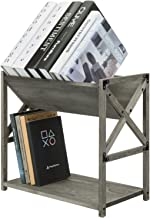 MyGift 2 Tier Vintage Gray Wood Home or Office Bookcase Desktop Organizer Shelf