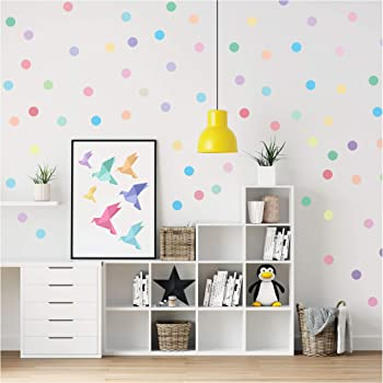PapaKit Large Round Polka Dot Confetti Wall Decal Baby Nursery Child Kid Boy Girl Bedroom Home Decor   Creative Art Design Pattern   Safe Removable Adhesive (Pastel Rainbow, 2 Inches x 120 Pieces)