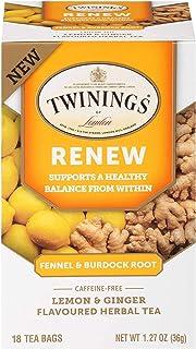 Twinings of London Daily Wellness Tea, Renew Healthy Balancing Fennel & Burdock Root, Lemon & Ginger, Flavored Herbal Tea,...