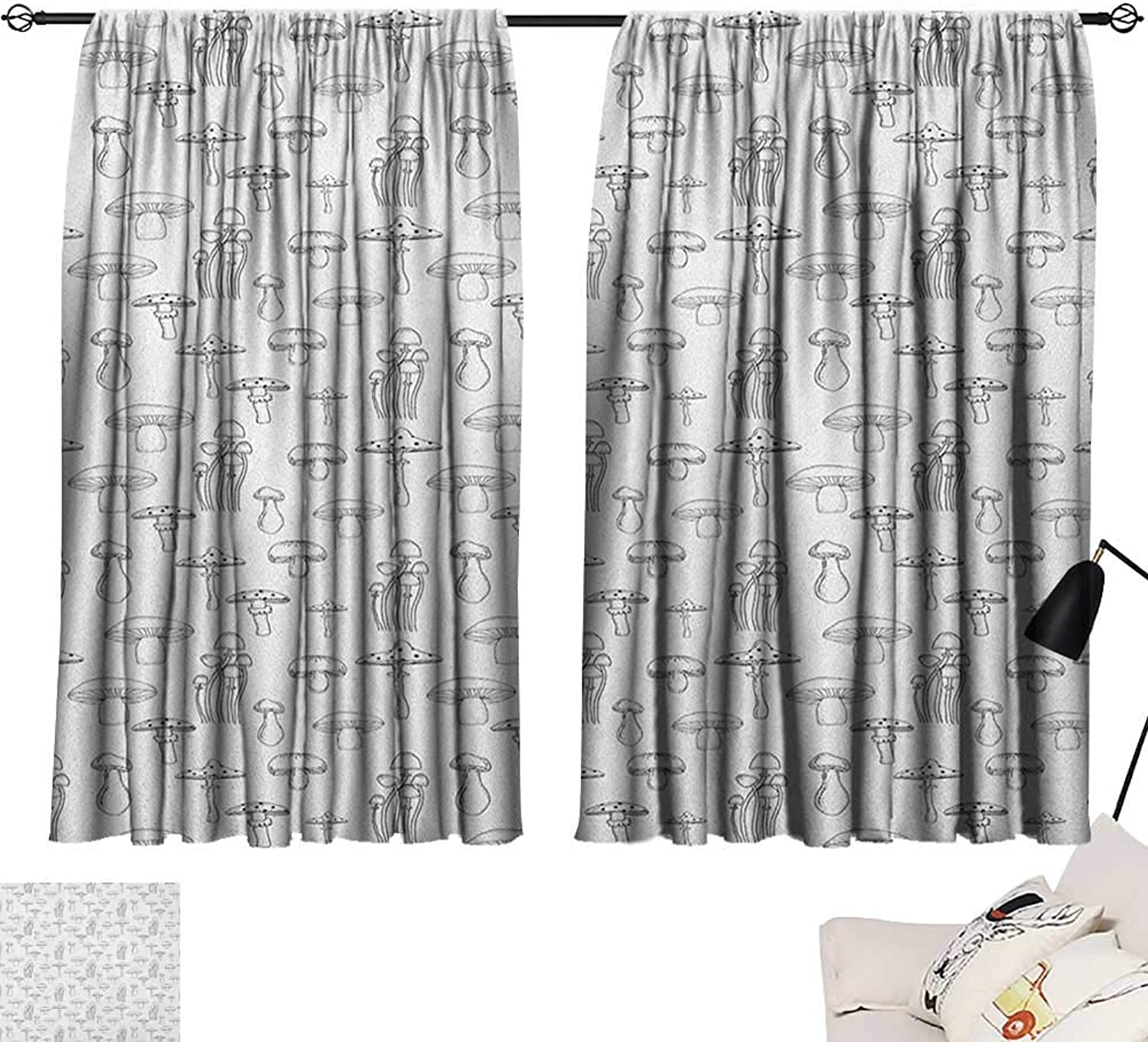 Homehot Thermal Curtains Mushroom,Collection of Different Mushrooms Doodle Style Monochrome Display Organic Garden, Black White 72 x96 ,Home Garden Bedroom Outdoor Indoor Wall Decorations