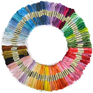 Cotton Stranded Thread skeins. Rainbow Colours Cross Stitch Threads Kit Crafts for Bracelets Floss, DIY Hair Rings, Glass Bottles Pack of 100 Skeins