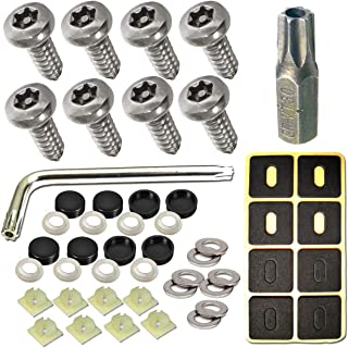 Stainless Steel License Plate Screws -No Rust Plate Screws for Fastening License Plate Cover, Front or Rear License Plate Frames with Screw Black Caps (Anti-Theft Self Tapping Screws)