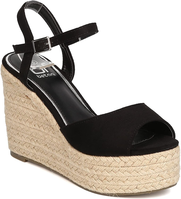 BETANI Women Faux Suede Peep Toe Espadrille Platform Wedge Sandal GC12