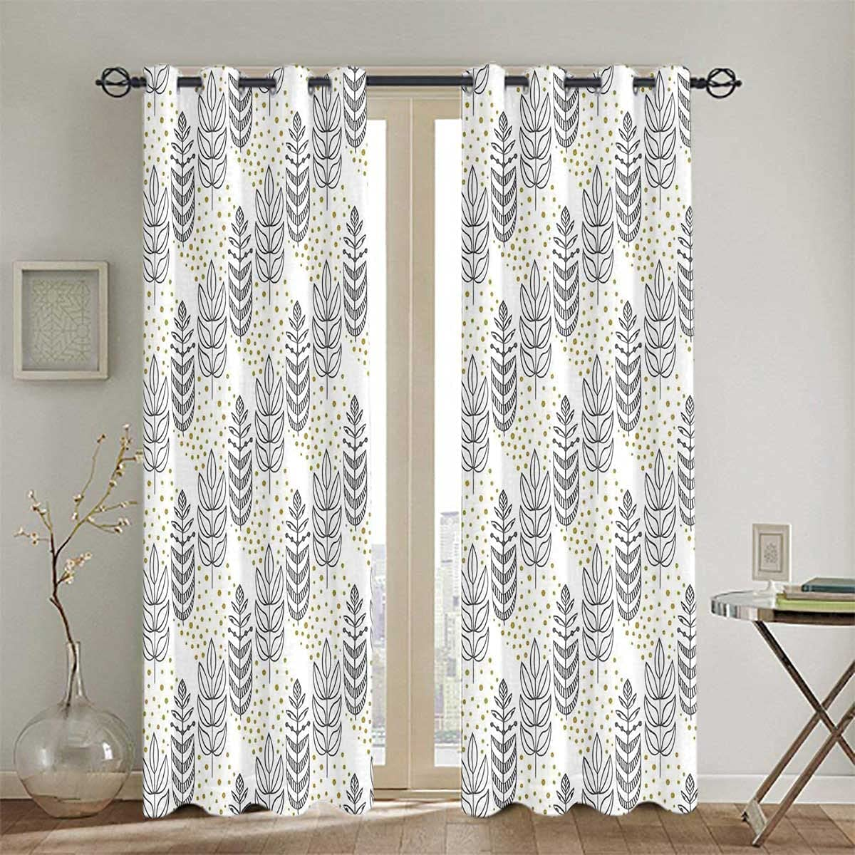 Max 78% OFF Blackout Curtains Bedroom Insulated Darkening Memphis Mall Outline and Leaves