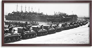 War WWII USA LST Tanks Invasion Sicily 1943 Photo Framed Wall Art Print Long 25X12 Inch