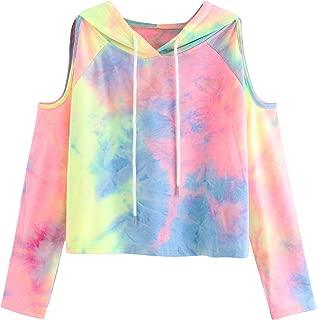 Women's Cold Shoulder Tie Dye Pullover Hoodie Crop Top Sweatshirt