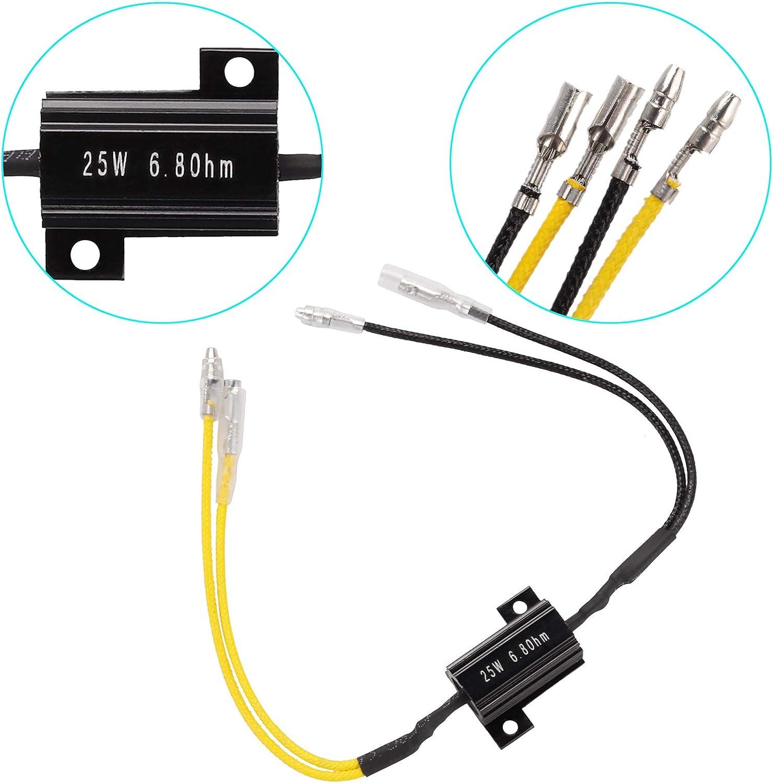 Kinstecks 4PCS 25W 6.8Ohm LED Load Resistors LED Turn Signal Resistor Flasher Adaptor Flash Fix Error for LED Turn Signal Lights LED License Plate Lights DRL-Yellow Black