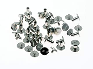 Screw Post Metal Chicago Screws Binding Screw Leather Screw Nail Rivet Button Solid Belt Tack Screw (Silvery, M4 x 8mm 50-Sets)