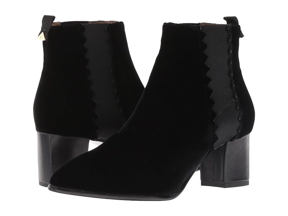 Emporio Armani Velvet Pull-On Ankle Boot (Black) Women