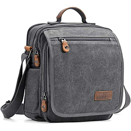 Plambag Canvas Messenger Bag Tablet Bag for Men Small Travel School Crossbody Bag Fit iPad