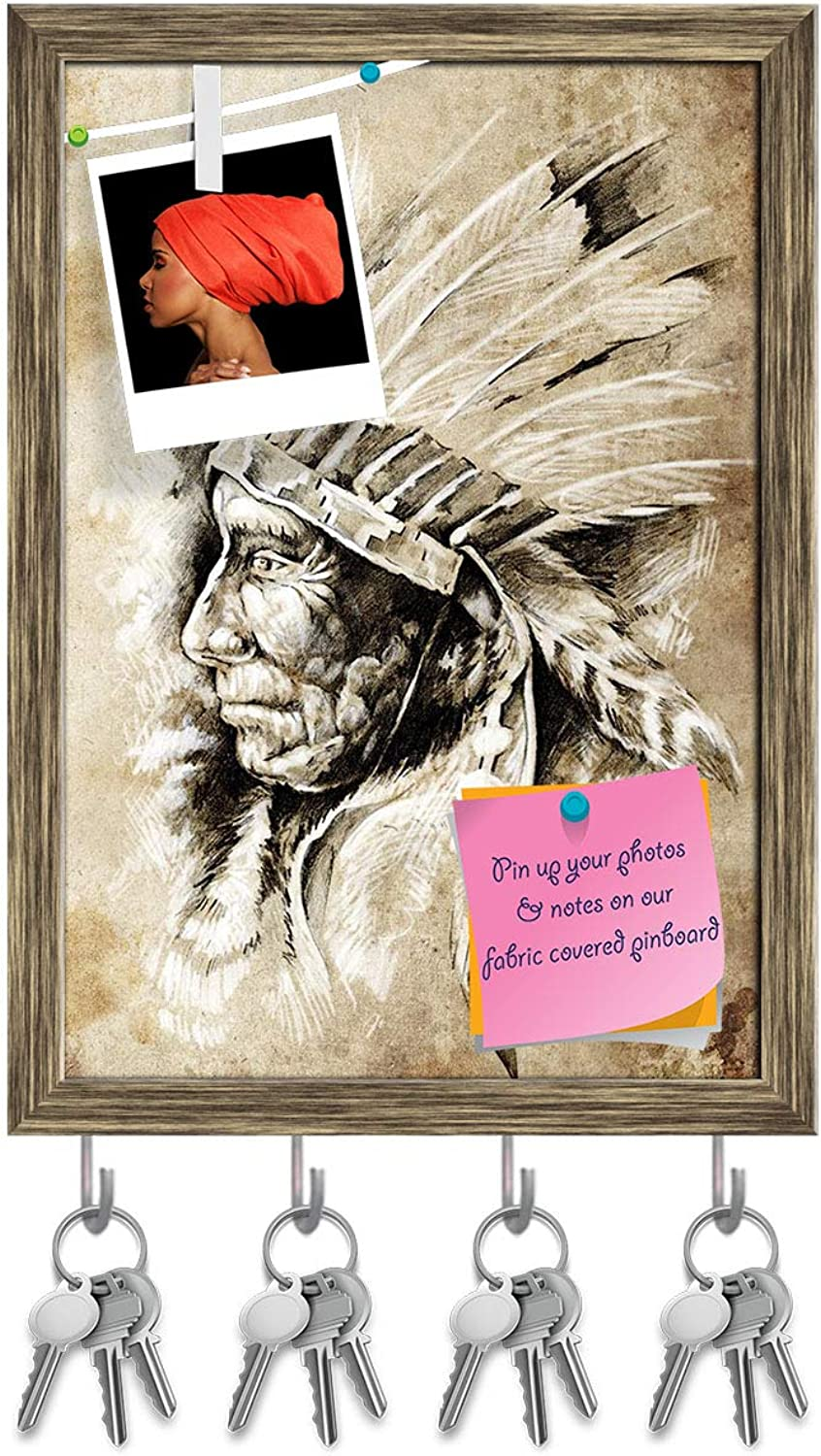 Artzfolio Native American Indian Head D2 Key Holder Hooks   Notice Pin Board   Antique golden Frame 10 X 14.1Inch