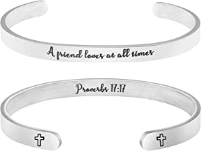 MEMGIFT Best Frend Bracelet Bible Verse Christian Scripture Religious Jewelry Gifts Friendship A Friend Loves at All Times Proverbs 17:17
