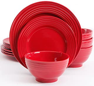 Gibson Home 102248.12RM Plaza Cafe 12 Pc Red Dinnerware Set, 1