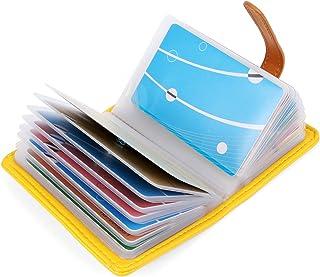 10 Colori Porta Carte di Credito Pelle per Donna Uomo - 26 Slot (Giallo)