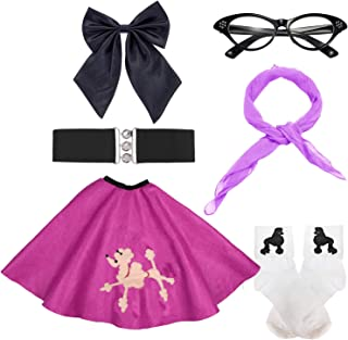 50s Girls Costume Accessory Set - Poodle Skirt,Elastic Cinch Belt,Ponytail Holders,Chiffon Scarf,Cat Eye Glasses,Bobby Socks