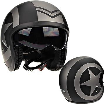 Viper V06 Motorrad Helm Offen Mattschwarz Star Offenes Gesicht Jethelm Xl 61 62cm Auto