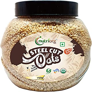 Nutriorg USDA Certified Organic Gluten Free Steel Cuts Oats 750g | Vitamin Rich Oats | Iron Rich | Weight Management | Hig...