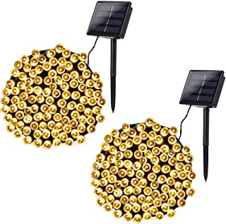 Joomer 2 Pack Solar Christmas Lights 72ft 200 LED 8 Modes Solar String Lights, Waterproof Solar Fairy Lights for Garden, Patio, Home, Wedding, Party, Christmas Decorations (Warm White)