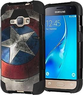 Galaxy Express 3 / Galaxy Amp 2 / Galaxy Luna / Galaxy J1 J120 Case, Capsule-Case Shockproof Kickstand Case (Black) for Samsung Galaxy Express3 / Amp2 / Luna / J1 J120- (Rock Star)