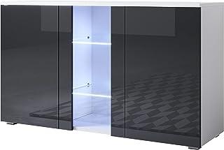 muebles bonitos Aparador Modelo Luke A1 (120x72cm) Color Blanco y Negro con Patas estándar
