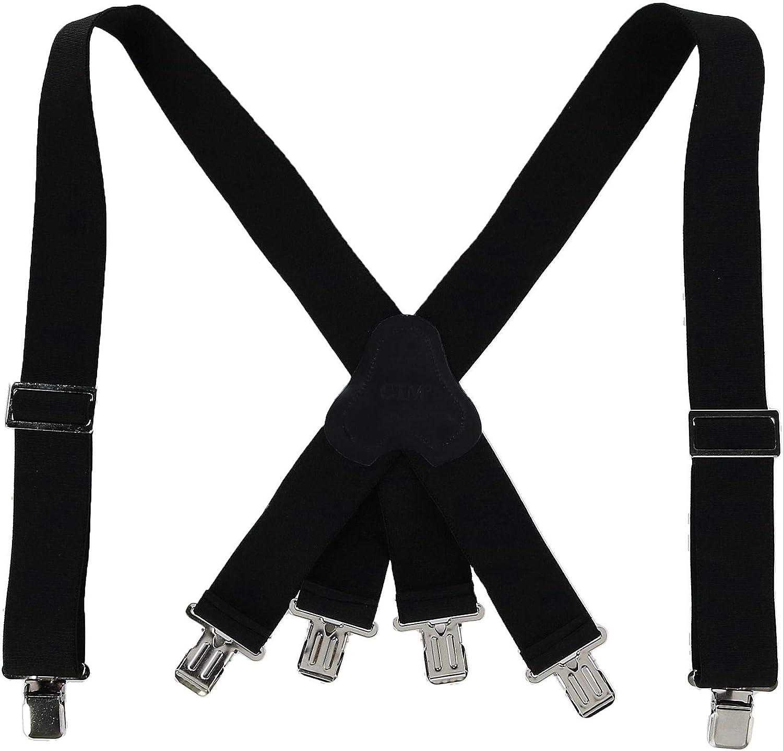 CTM Mens Elastic Clip-End 2 Inch Fireman Braces