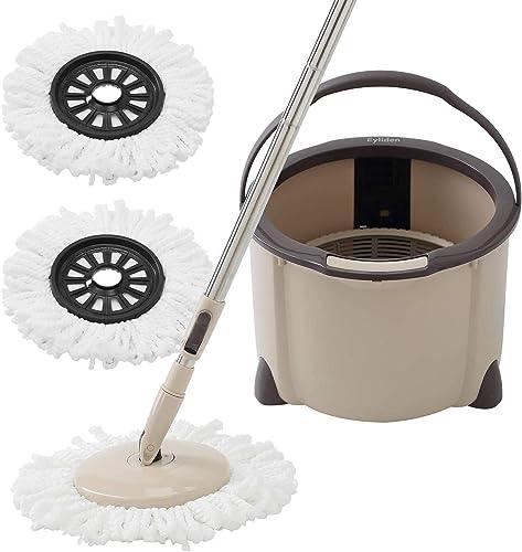 Eyliden Microfiber Mop Buckets System, 360 Spin Rapid Dehydration Dust Mop Buckets with 2 Mop Pads, Adjustable Handle...