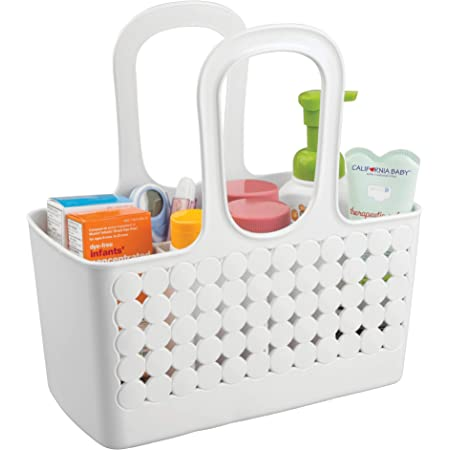 """iDesign Orbz Plastic Bathroom Shower Tote, Small Divided College Dorm Caddy for Shampoo, Conditioner, Soap, Cosmetics, Beauty Products, 11.75"""" x 6"""" x 12"""", White"""