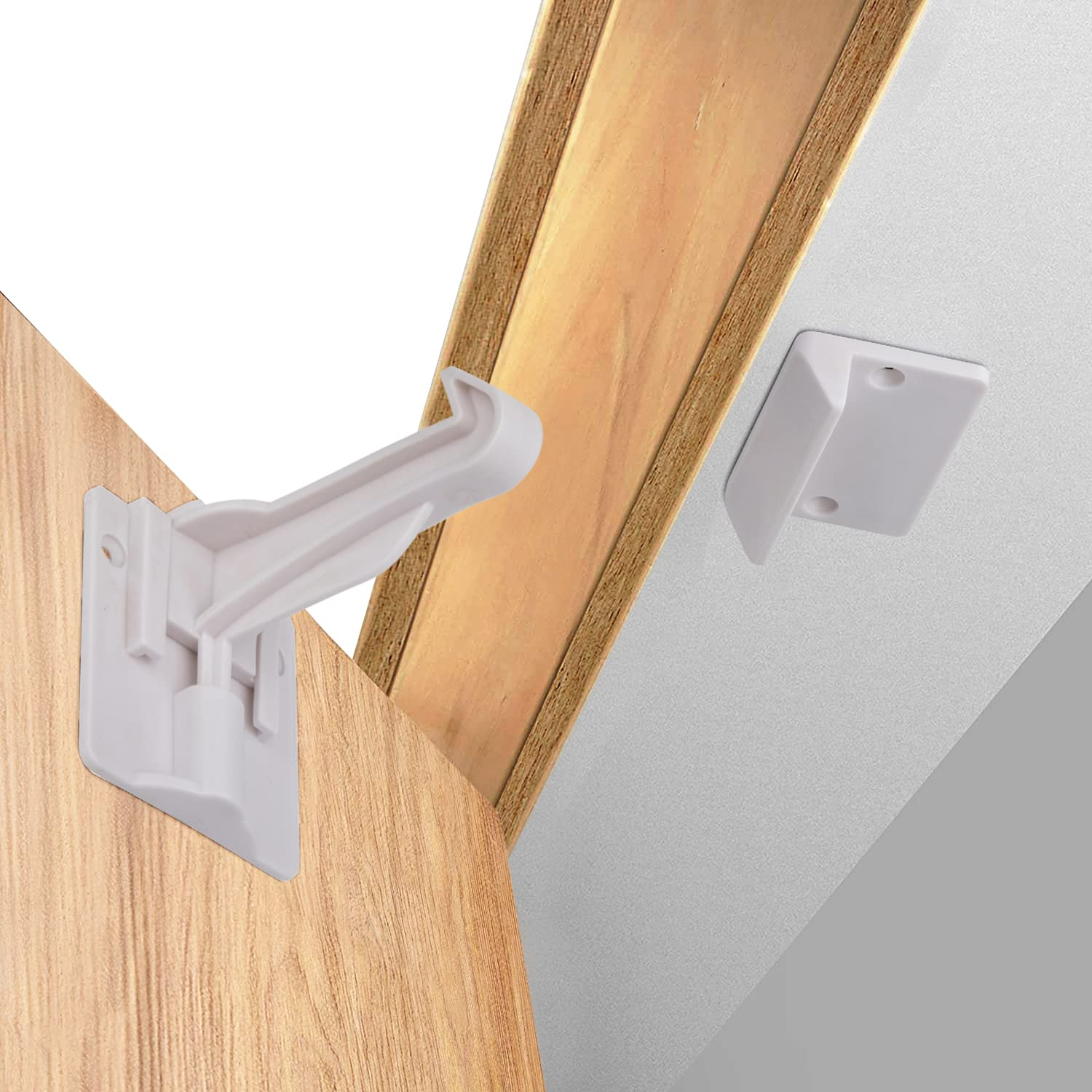 Upgraded Child Cabinet Safety Lock Latches (12 Pack) Baby Proof Locks for Cabinet and Drawers, NO Tools, Screws, Drilling Required. Easy to Install with Strong Tape on The Back.